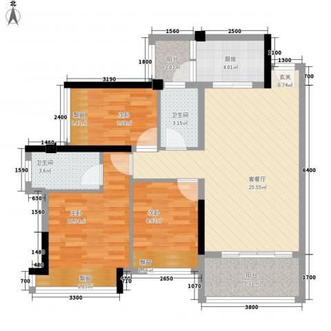 神州华府二期3室1厅2卫1厨103.00㎡户型图