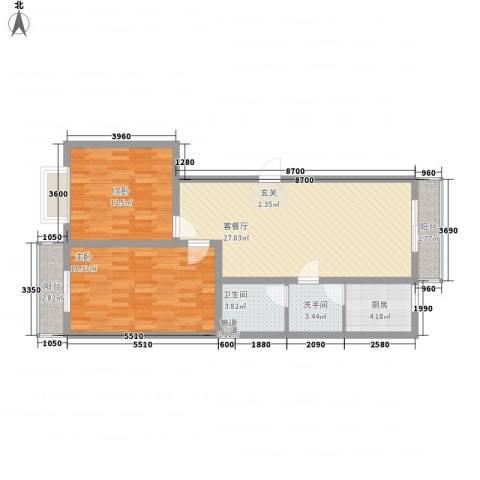观庭2室1厅1卫1厨105.00㎡户型图
