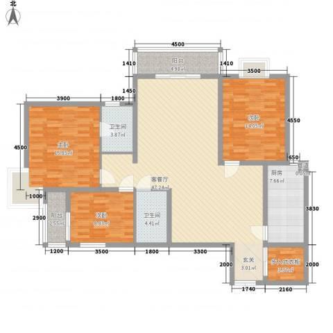 湖东景园3室1厅2卫1厨161.00㎡户型图
