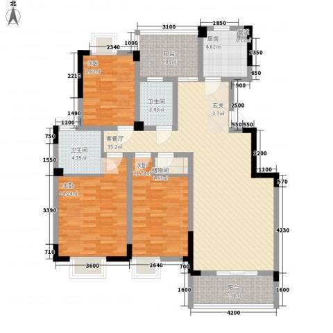 永同昌大厦3室1厅2卫1厨138.00㎡户型图