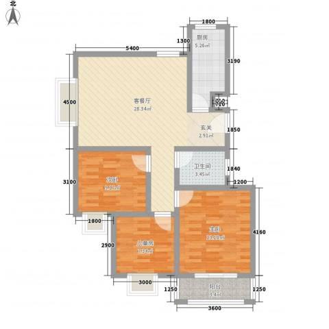 春城国际3室1厅1卫1厨99.00㎡户型图
