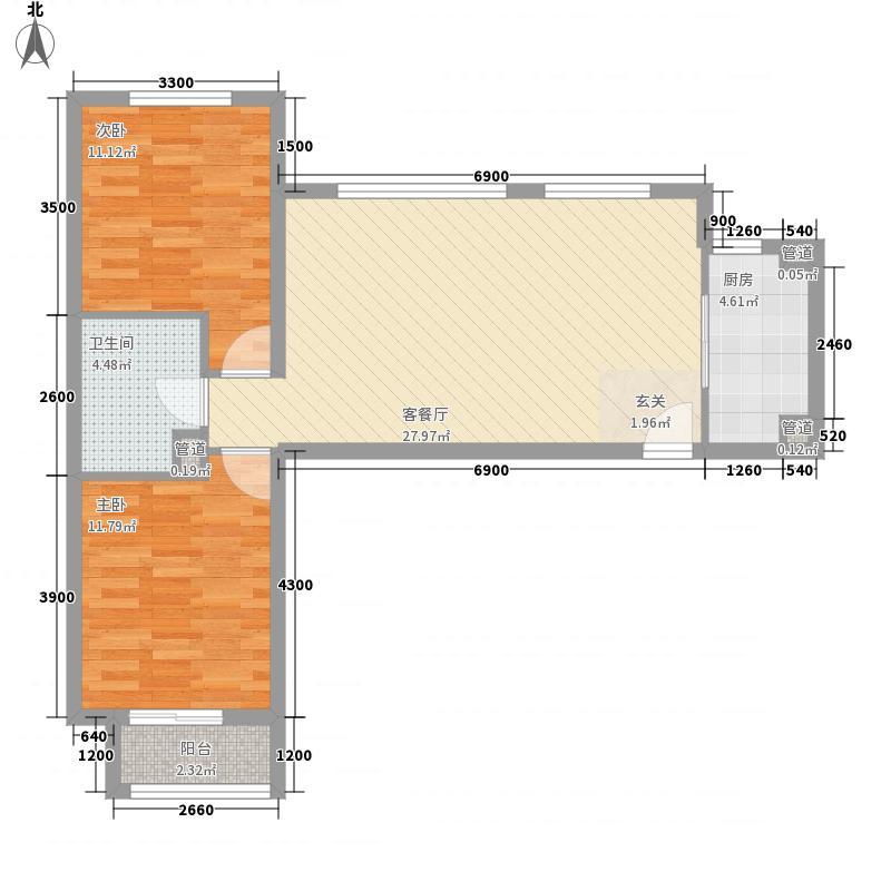 龙湖大厦户型2室2厅1卫1厨