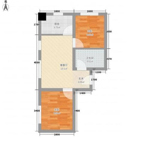 向阳驿2室1厅1卫1厨51.00㎡户型图