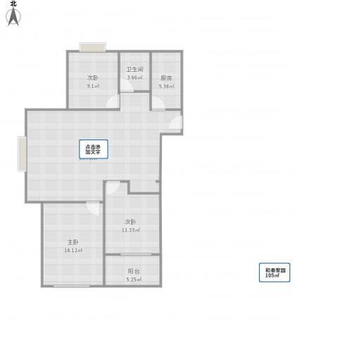 和泰家园3室1厅1卫1厨121.00㎡户型图