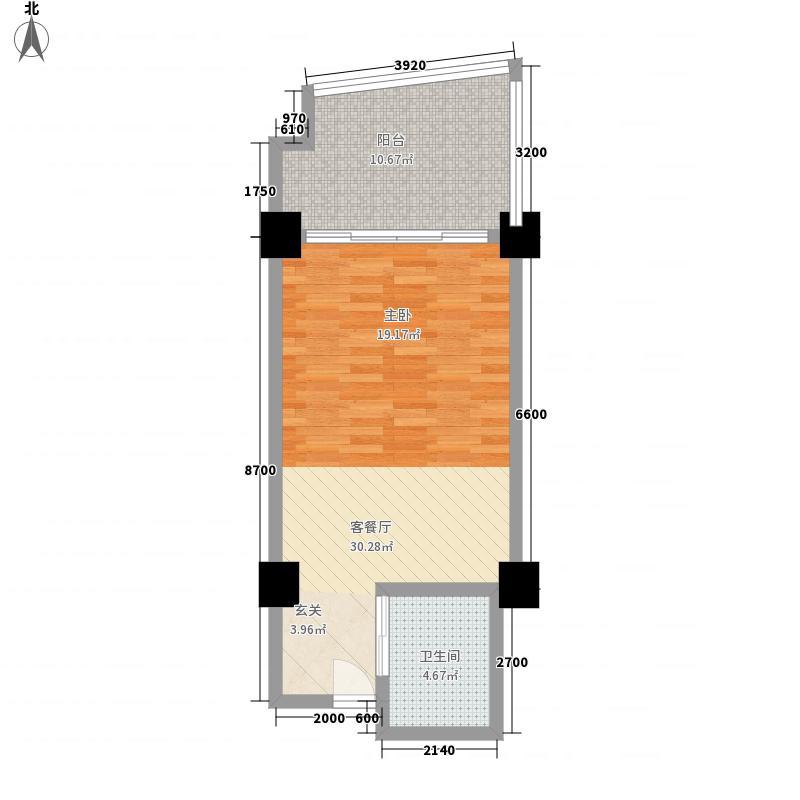 三亚湾海韵度假酒店68.81㎡A-6户型1室1卫