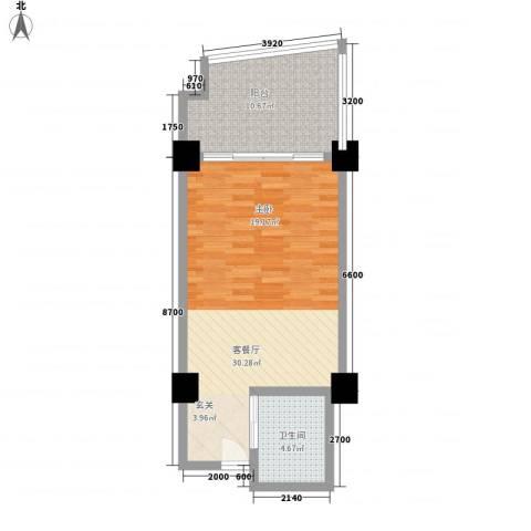 三亚湾海韵度假酒店1厅1卫0厨69.00㎡户型图