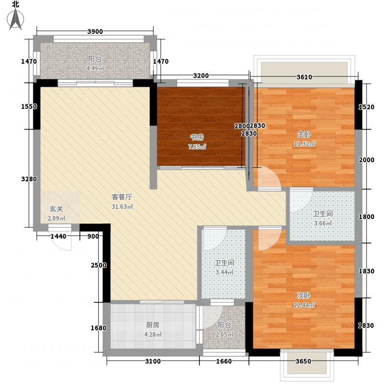 翠湖名都8/9号楼C1户型3室2厅2卫1厨