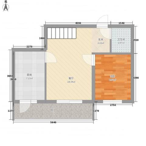 明和彩座1室1厅1卫1厨59.00㎡户型图