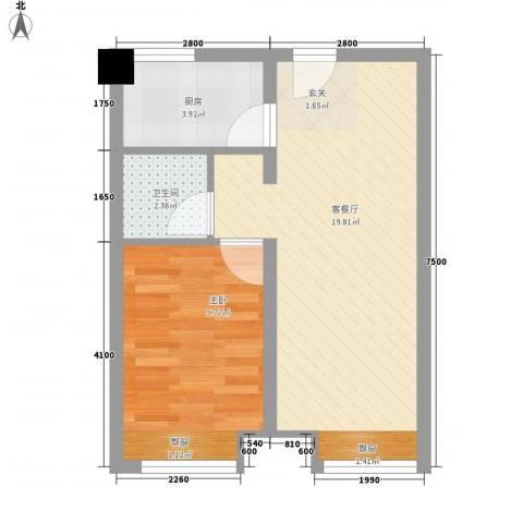 向阳驿1室1厅1卫1厨51.00㎡户型图