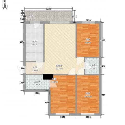明和彩座3室1厅2卫1厨103.00㎡户型图