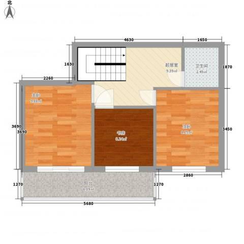 明和彩座3室0厅1卫0厨61.00㎡户型图