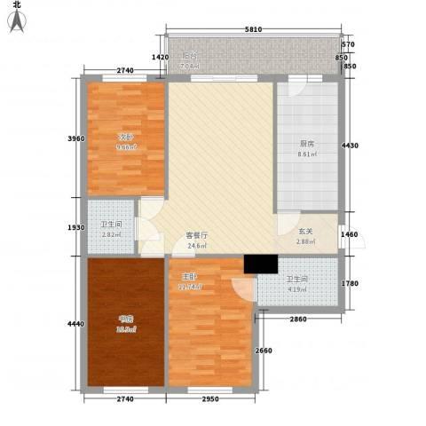 明和彩座3室1厅2卫1厨111.00㎡户型图