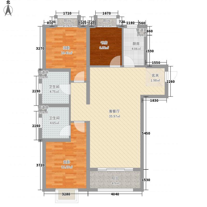 万都城123.00㎡一期D1户型3室2厅2卫1厨