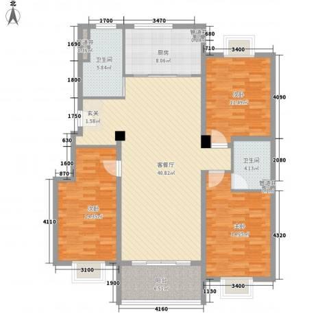 文昌花园3室1厅2卫1厨151.00㎡户型图