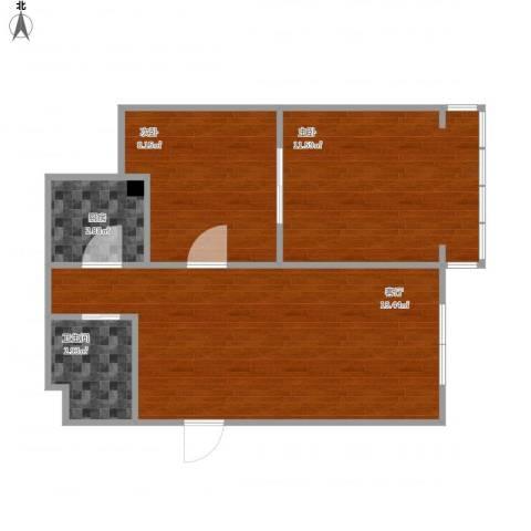 东镇小区2室1厅1卫1厨61.00㎡户型图