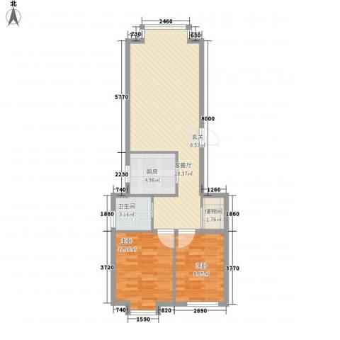 东方嘉苑2室1厅1卫1厨83.00㎡户型图