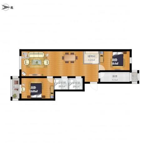 管庄西里2室1厅2卫1厨105.00㎡户型图