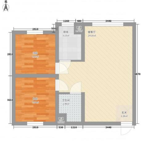 颐和花园2室1厅1卫1厨66.00㎡户型图