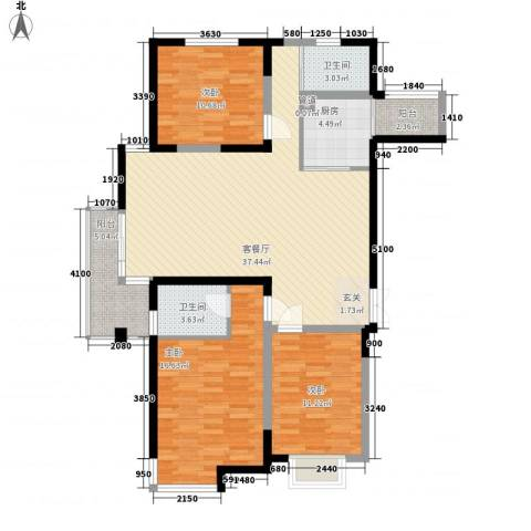 滨河湾3室1厅2卫1厨135.00㎡户型图