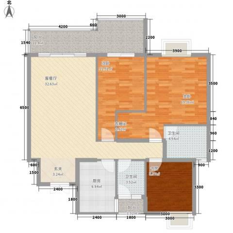 凤凰山水国际城3室1厅2卫1厨129.00㎡户型图