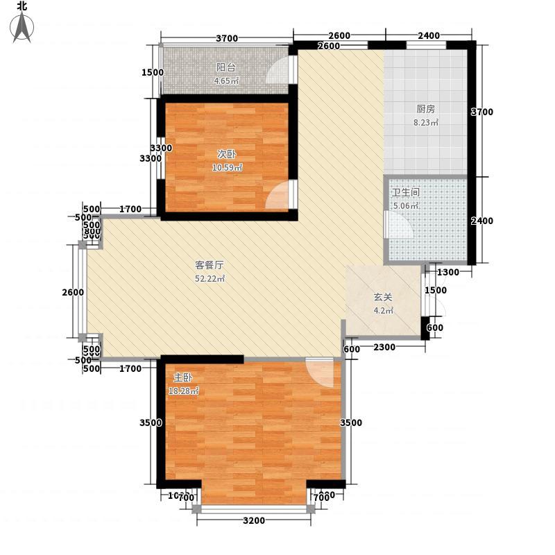 恒生57.00㎡小区户型2室
