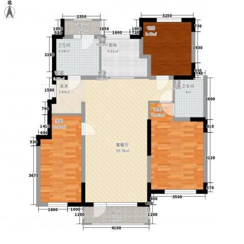 听雨观澜3室1厅2卫1厨137.00㎡户型图