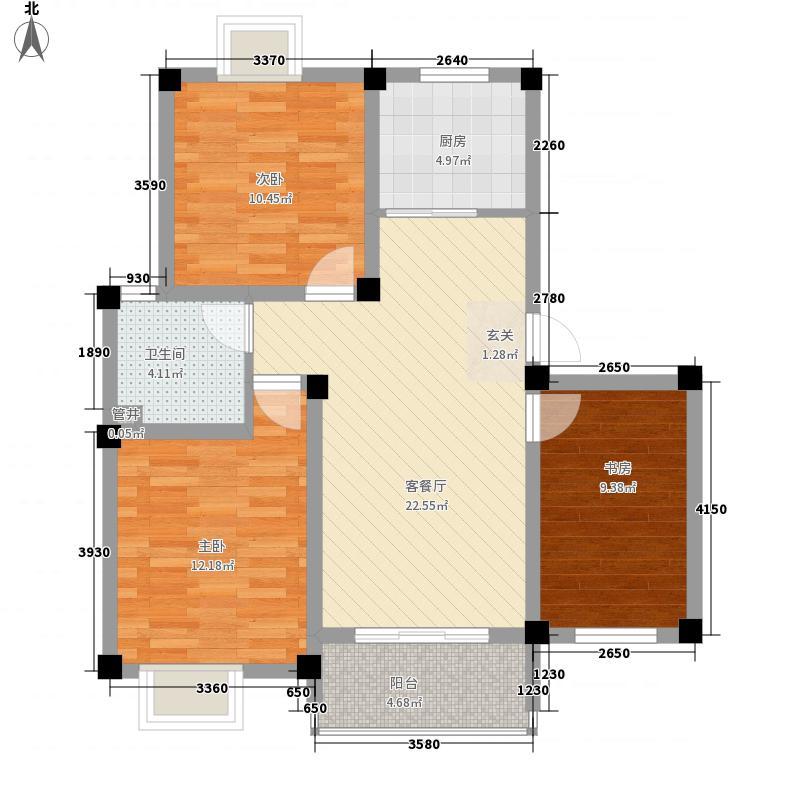 天悦华景8.88㎡二期17、18、19、20、21、22、25#F1F2户型3室2厅1卫1厨