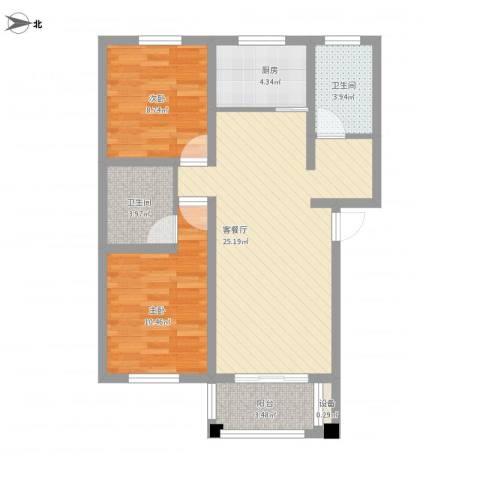 翠湖新村2室1厅2卫1厨89.00㎡户型图