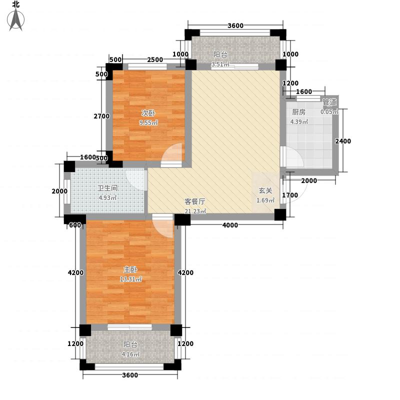 南海半岛81.00㎡A1户型2室2厅1卫1厨