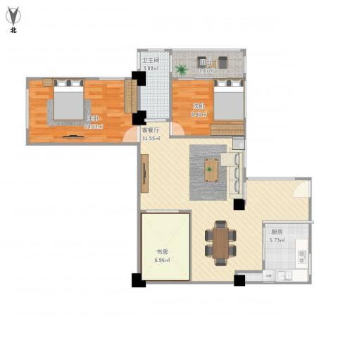 怡安花园3室1厅1卫1厨93.00㎡户型图