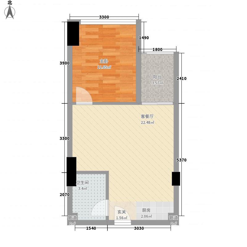 昊壮南湖西岸58.00㎡户型1室1厅1卫1厨