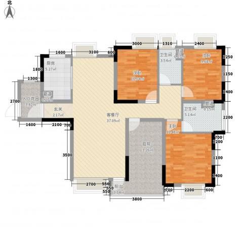 石排国际公馆3室1厅2卫1厨143.00㎡户型图