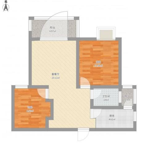 益阳国色天香2室1厅1卫1厨82.00㎡户型图