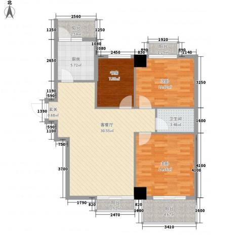 名流水晶宫3室1厅1卫1厨108.00㎡户型图