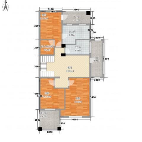 联合世纪新筑3室1厅2卫0厨145.00㎡户型图