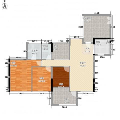 阳光时代3室1厅2卫1厨115.00㎡户型图