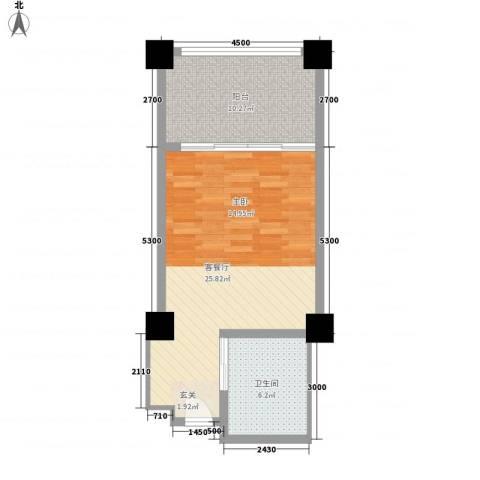 三亚湾海韵度假酒店1厅1卫0厨54.00㎡户型图