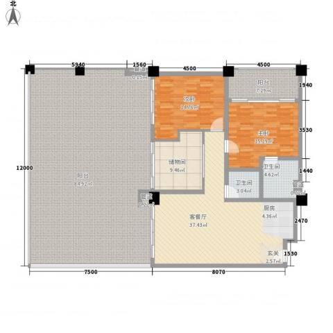 三亚湾海韵度假酒店2室1厅2卫0厨177.20㎡户型图