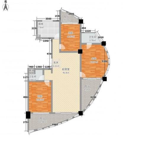 三亚湾海韵度假酒店3室0厅2卫1厨168.00㎡户型图