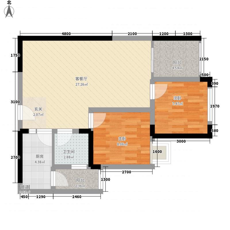 海投大厦15户型2室2厅1卫1厨