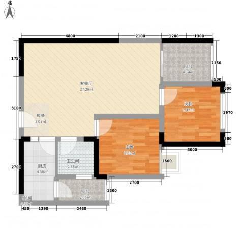 海投大厦2室1厅1卫1厨65.90㎡户型图