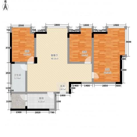 加佳苑3室1厅1卫1厨99.66㎡户型图
