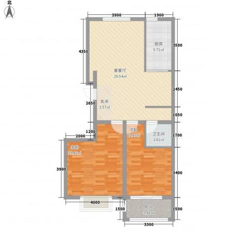 润东花园2室1厅1卫1厨69.45㎡户型图