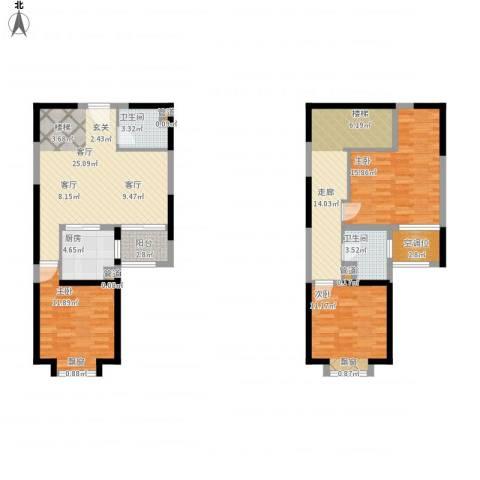 北辰红星国际广场3室1厅2卫1厨139.00㎡户型图