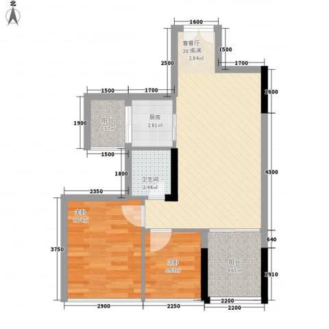 阳光时代2室1厅1卫1厨57.00㎡户型图