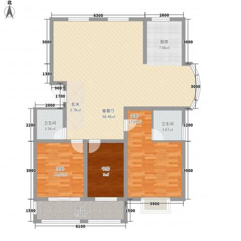 润东花园3室1厅2卫0厨147.00㎡户型图