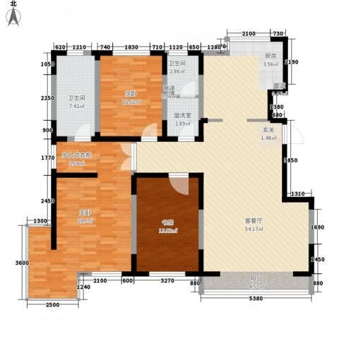 蓝调倾城3室2厅2卫0厨165.00㎡户型图