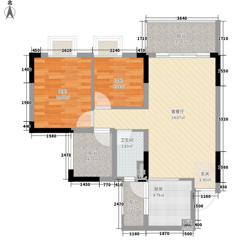 碧桂园山水桃园88.00㎡T606单位户型2室2厅1卫1厨