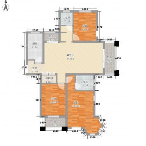 世茂东都3室1厅2卫1厨141.00㎡户型图