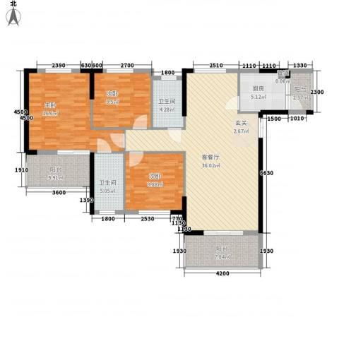 香港映象3室1厅2卫1厨143.00㎡户型图